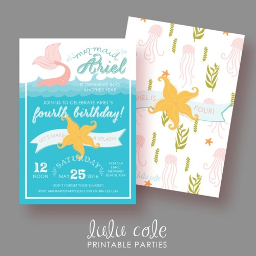 Mermaid Birthday Party Invitations - Under the Sea - Printable - LuluCole for AmysPartyIdeas.com