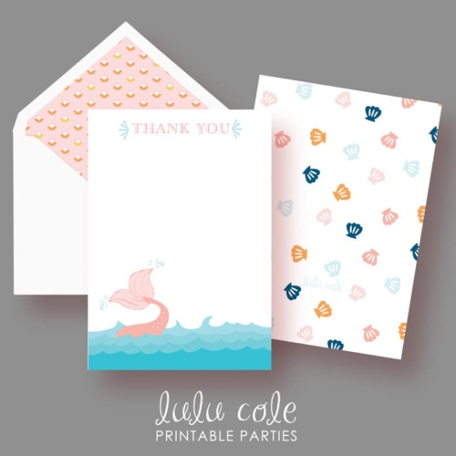 Mermaid Birthday Party Thank You Notes - Under the Sea - Printable - LuluCole