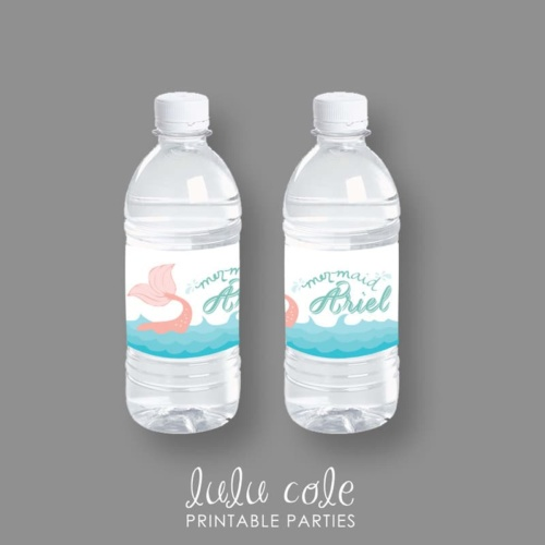 Mermaid Birthday Party Water & Drink Labels - Under the Sea - Printable - LuluCole