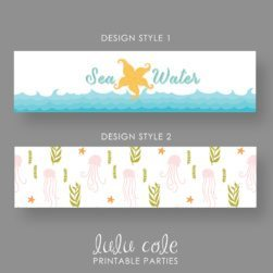 INSTANT DOWNLOAD - Sea Water - Mermaid Birthday Party Water & Drink Labels - Under the Sea - Printable - LuluCole for AmysPartyIdeas.com