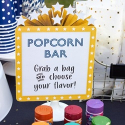 Outdoor Movie Night Popcorn Bar Party Printables INSTANT DOWNLOAD
