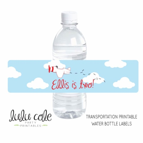 Printable Transportation Party Water Labels | Edit Your Own | Editable & Printable party supplies from LuluCole.com exclusively for AmysPartyIdeas.com