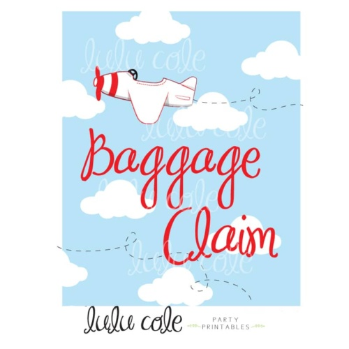 Printable Transportation Party Favor Sign Planes Baggage Claim | Printable party supplies from LuluCole.com exclusively for AmysPartyIdeas.com