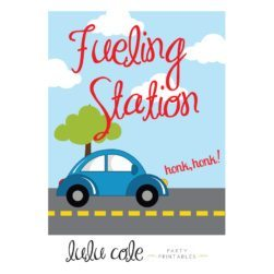 Printable Transportation Party Sign Car Fueling Station | Printable party supplies from LuluCole.com exclusively for AmysPartyIdeas.com