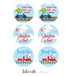 Printable Transportation Party Circles | Edit Your Own | Editable & Printable party supplies from LuluCole.com exclusively for AmysPartyIdeas.com