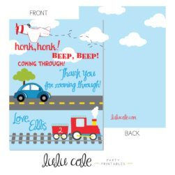 Printable Transportation Party Thank You Notes | Printable party supplies from LuluCole.com exclusively for AmysPartyIdeas.com
