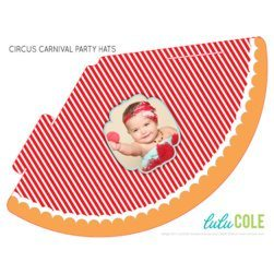 Circus Carnival Birthday Party Ideas   Printable Personalized Photo Party Hats