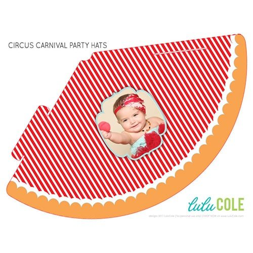 Circus Carnival Birthday Party Ideas | Printable Personalized Photo Party Hats