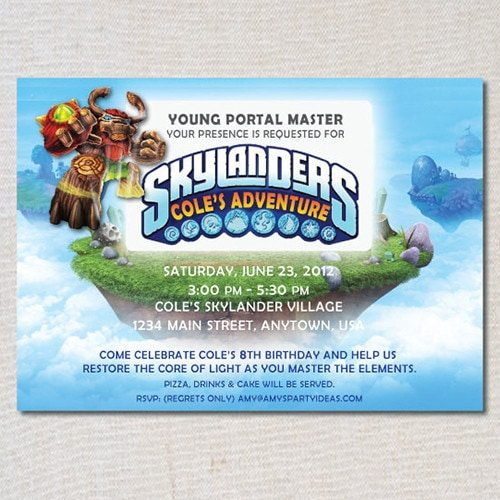 Skylanders GIANTS Inspired Printable Birthday Invitations - Skylanders Inspired Birthday Party Ideas & Supplies