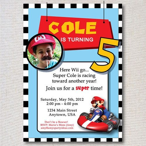 Mario Kart Birthday Personalized Photo Invitations -Super Mario Birthday Party Ideas & Supplies