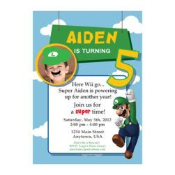 Luigi Birthday Personalized Photo Invitations -Super Mario Birthday Party Ideas & Supplies