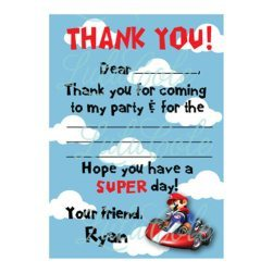 Mario Kart Birthday Personalized  Thank You Notes - Super Mario Birthday Party Ideas & Supplies