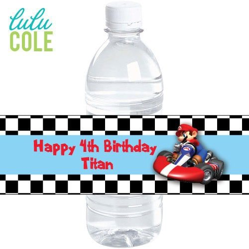 Mario Kart Birthday Personalized Water Bottle Labels - Super Mario Birthday Party Ideas & Supplies