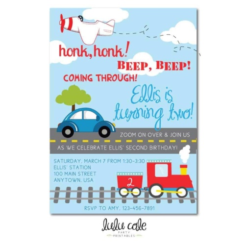 Printable Transportation Party Invitations | Printable party supplies from LuluCole.com exclusively for AmysPartyIdeas.com