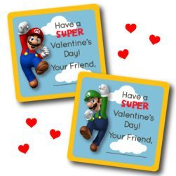 Super Mario Printable Classrom Valentines - Super Mario Birthday Party Ideas & Supplies