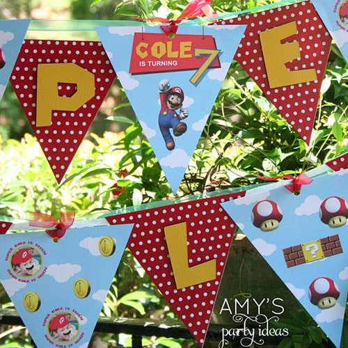 Super Mario Birthday Party Banner- personalized & printable