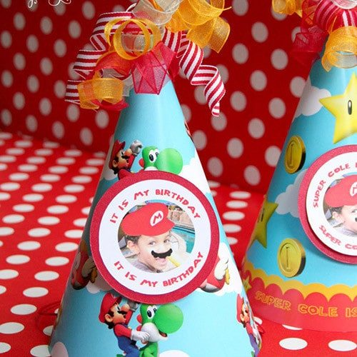 Super Mario Birthday Party Hats- personalized & printable