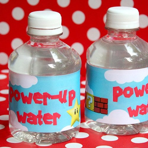 Super Mario Birthday Water Bottle Labels - Super Mario Birthday Party Ideas & Supplies