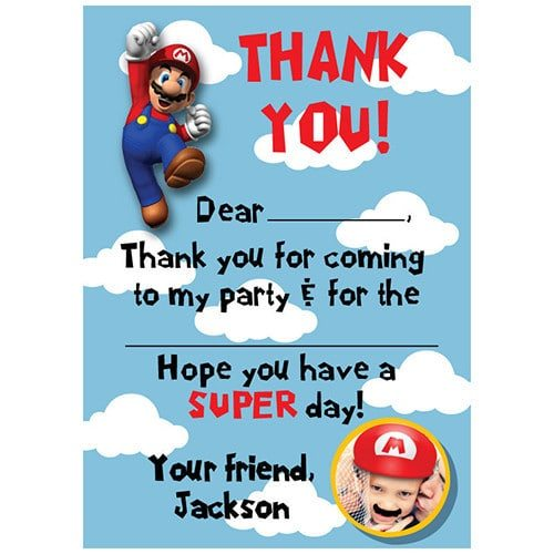 Super Mario Birthday Party Supplies - Photo Thank You Notes