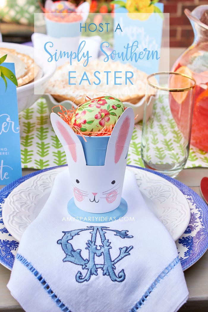 Host a Simply Southern Easter Dinner | DIY Video Tutorial | Easter Tablescape | Easter Party Ideas from AmysPartyIdeas.com | Marie Callender's® Cream Pies #SweetenYourSpring #ad