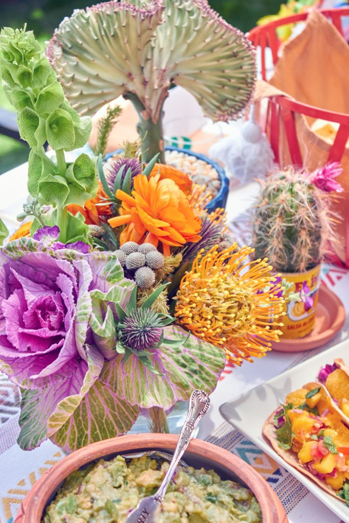 Desert Floral Arrangment | Cactus Fiesta Party Ideas | Cinco de Mayo party ideas | Mexican party or wedding | Outdoor Entertaining | As seen on AmysPartyIdeas.com and Swoozies.com