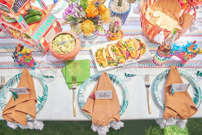 Fiesta Tablescape | Cactus Fiesta Party Ideas | Cinco de Mayo party ideas | Mexican party or wedding | Outdoor Entertaining | As seen on AmysPartyIdeas.com and Swoozies.com