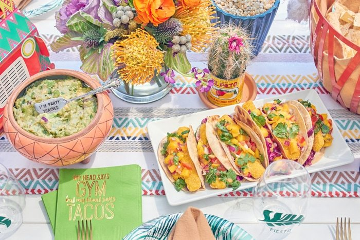 Fish Tacos | Cactus Fiesta Party Ideas | Cinco de Mayo party ideas | Mexican party or wedding | Outdoor Entertaining | As seen on AmysPartyIdeas.com and Swoozies.com