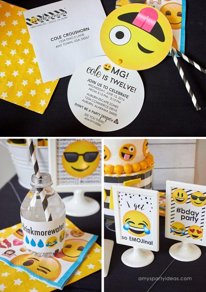 Emoji Party Ideas & Printables as seen on AmysPartyIdeas.com