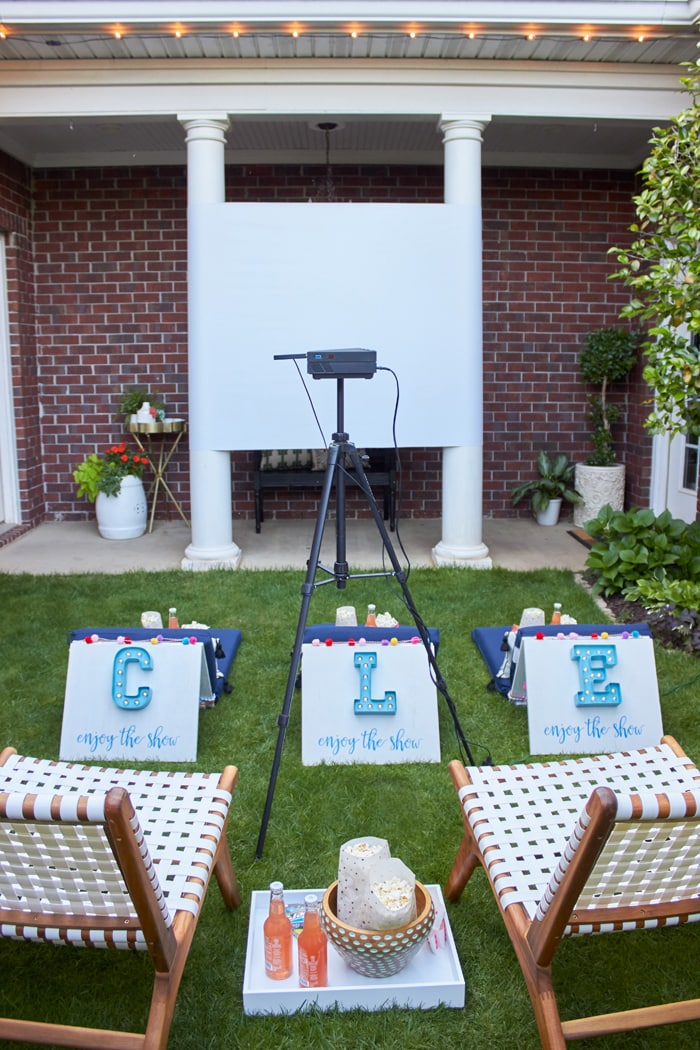 DIY Outdoor Family Movie Night | DIY Movie Screen | DIY Movie Seats | World Market Outdoor Family Movie Night from AmysPartyIdeas.com | #DiscoverWorldMarket #WorldMarketTribe #ad