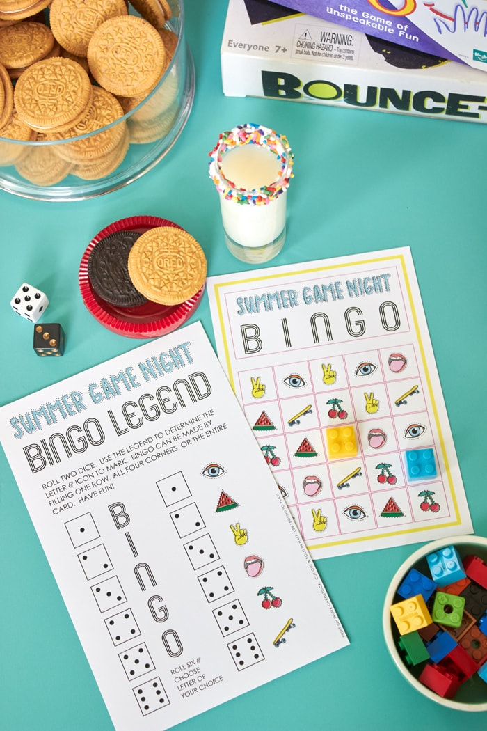 Game Night Ideas + FREE printable BINGO game from AmysPartyIdeas.com