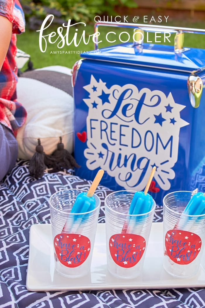 DIY Festive Fourth of July Cooler Tutorial | Last minute Fourth of July Party & Entertaining Ideas | The Original Bomb Pop® | from AmysPartyIdeas.com | Free Printables | Instant Download Party Supplies | #SoHoppinGood #BlueBunny #BombPop #ad