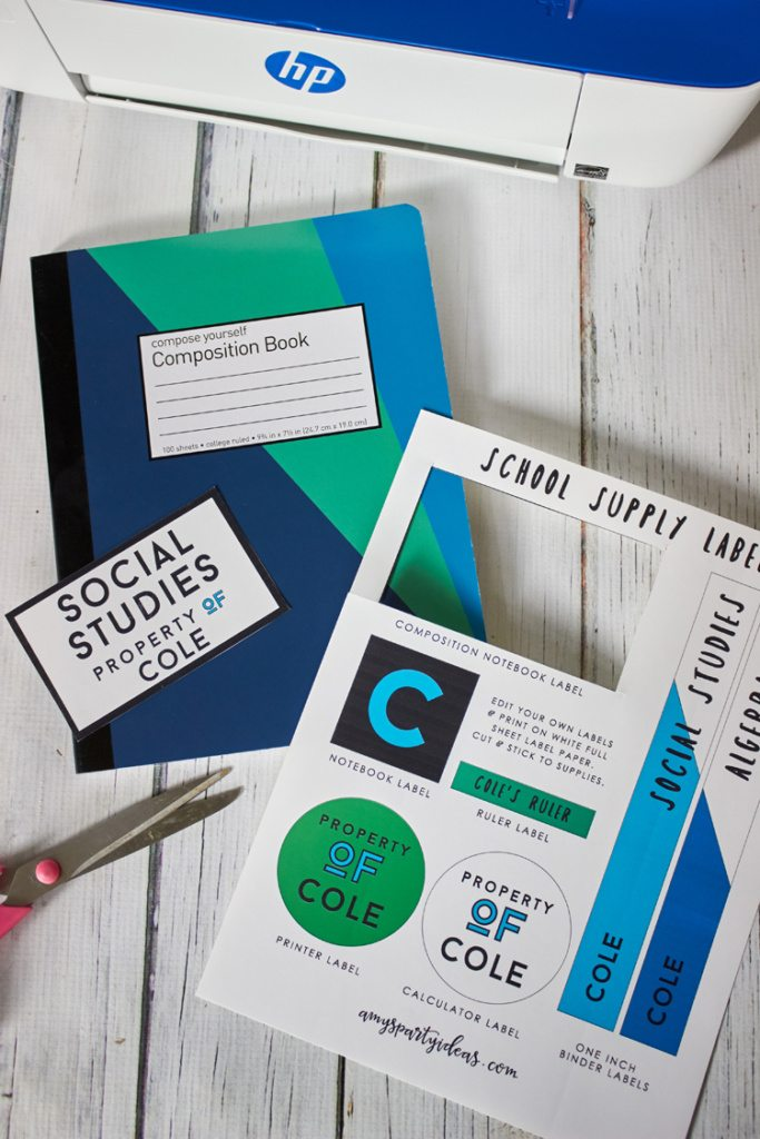 DIY Tutorial for Back to School with HP + Free EDIT YOUR OWN Printable School Supply Labels from AmysPartyIdeas.com | College Dorm Printer Scanner Copy | Teen & Tween Labels | #CreateWithHP #ad