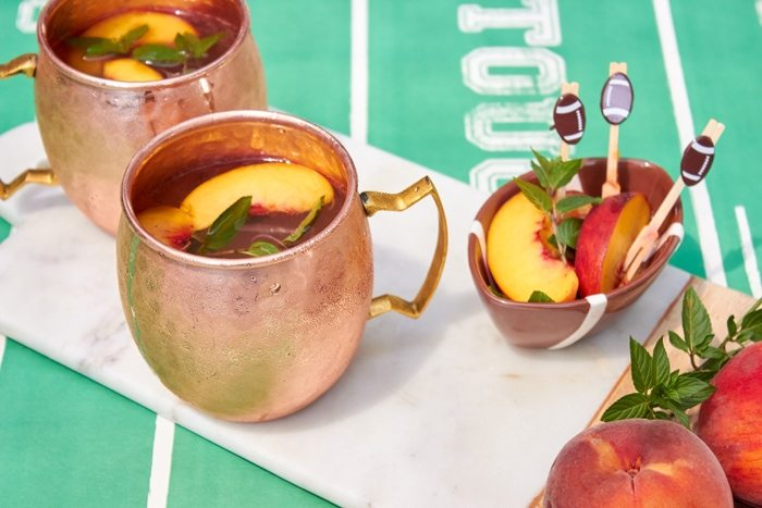 Game Day Drinks - Peach Moscow Mules from AmysPartyiIdeas.com | #HomegatingHeroes with Dollar General #ad