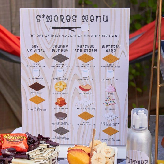 S Mores Menu Instant Download Amy S Party Ideas