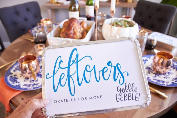 "Friendsgiving menu ideas and FREE PRINTABLE Leftover box LABELS | Host Friendsgiving Dinner this year! | Easy tips for hosting from AmysPartyIdeas.com | #TurkeyDayTips #ComfortFood ""Msg 4 21+"" #ad"