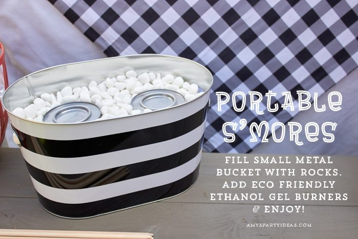DIY Portable S'mores (Indoor S'mores) | ENO Hammock Party Ideas from AmysPartyIdeas.com | Birthday Party Ideas for Tweens, Teens | Hang Out Party Ideas | Camping party ideas, portable s'mores, bug juice, s'mores menu, printable party supplies