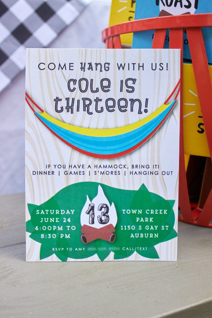 Printable Party Invitation for ENO Hammock Party | ENO Hammock Party Ideas from AmysPartyIdeas.com | Birthday Party Ideas for Tweens, Teens | Hang Out Party Ideas | Camping party ideas, portable s'mores, bug juice, s'mores menu, printable party supplies