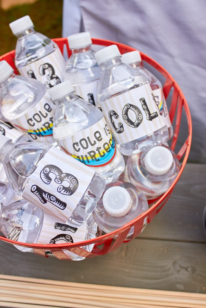 Printable Party Water Labels for ENO Hammock Party | ENO Hammock Party Ideas from AmysPartyIdeas.com | Birthday Party Ideas for Tweens, Teens | Hang Out Party Ideas | Camping party ideas, portable s'mores, bug juice, s'mores menu, printable party supplies