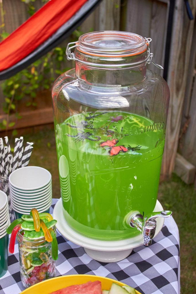 DIY Bug Juice for camping outdoor party | ENO Hammock Party Ideas from AmysPartyIdeas.com | Birthday Party Ideas for Tweens, Teens | Hang Out Party Ideas | Camping party ideas, portable s'mores, bug juice, s'mores menu, printable party supplies