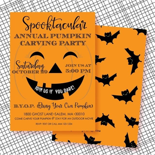 Another fun invite for our annual pumpkin carving party! Seehellip