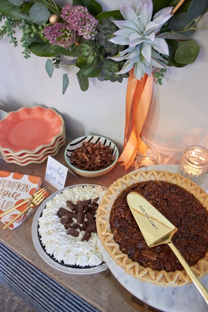 "Pie Bar with recipes for Pumpkin Spiced Pecans and Spiced Caramel Drizzle and FREE PRINTABLE LABELS | Host Friendsgiving Dinner this year! | Easy tips for hosting from AmysPartyIdeas.com | #TurkeyDayTips #ComfortFood ""Msg 4 21+"" #ad"