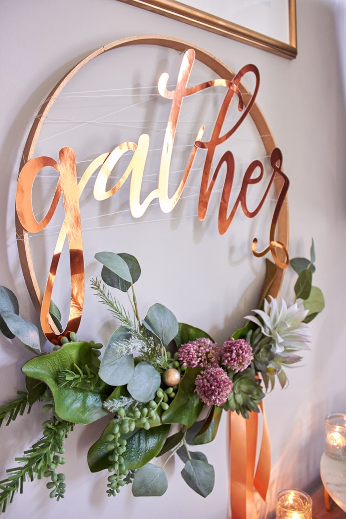 "DIY Tutorial to make hoop wreath with succulents. Perfect for weddings and thanksgiving | Pie Bar with recipes for Pumpkin Spiced Pecans and Spiced Caramel Drizzle and FREE PRINTABLE LABELS | Host Friendsgiving Dinner this year! | Easy tips for hosting from AmysPartyIdeas.com | #TurkeyDayTips #ComfortFood ""Msg 4 21+"" #ad"