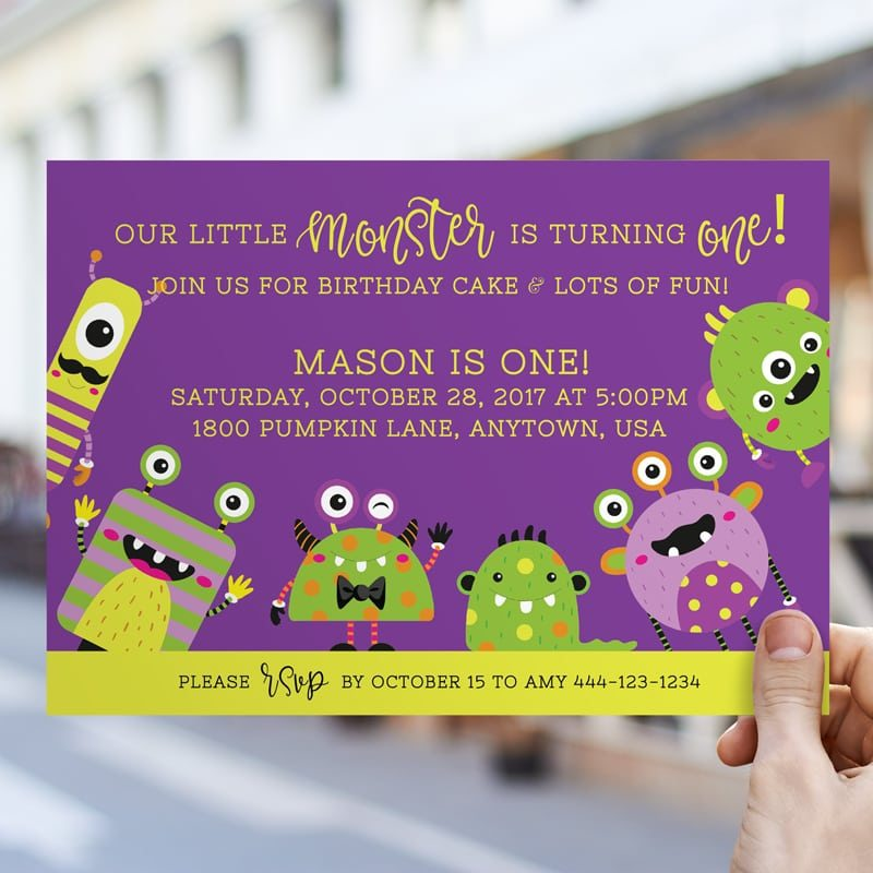 Monster Mash Birthday Bash Halloween party invitation PRINTABLE from LuluCole for AmysPartyIdeas.com