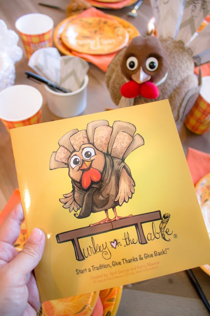 Start a new thankful tradition | Thanksgiving Dinner Table Ideas | Turkey on the Table | Swoozies.com | AmysPartyIdeas.com | Kids Table Thanksgiving Ideas