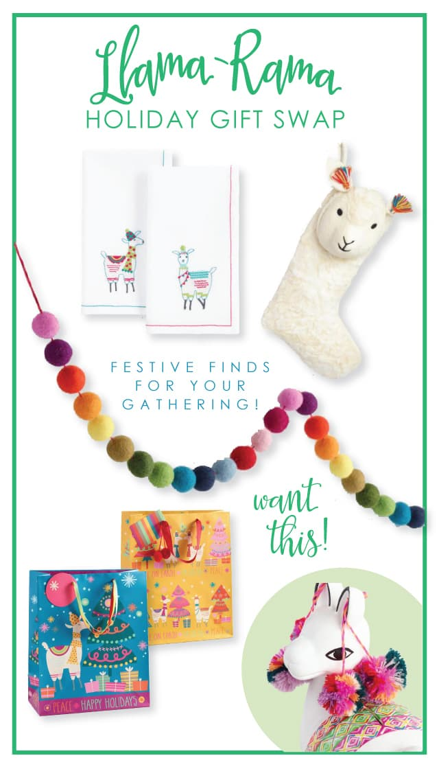 Llama-Rama Holiday Gift Swap | Holiday Party Ideas from AmysPartyIdeas.com | Golden Llama Treasure Hunt at Cost Plus World Market #GiftThemJoy #ad