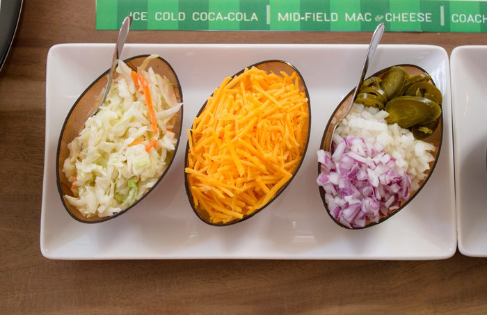 Pigskin Bowl Bar as seen on AmysPartyIdeas.com | Bowl Game Watch Party Ideas + Hotdog Bar | #ServeWithACoke #BowlGames #ad