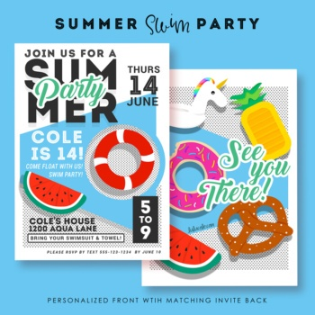Teen Birthday Party Ideas | Printable Invites | Swim Pool Party | Unicrom Float, Watermelon Float, Donut Float, Pineapple Float | Float and Swim Party | Lulu Cole for Amy's Party Ideas | LuluCole.com | AmysPartyIdeas.com