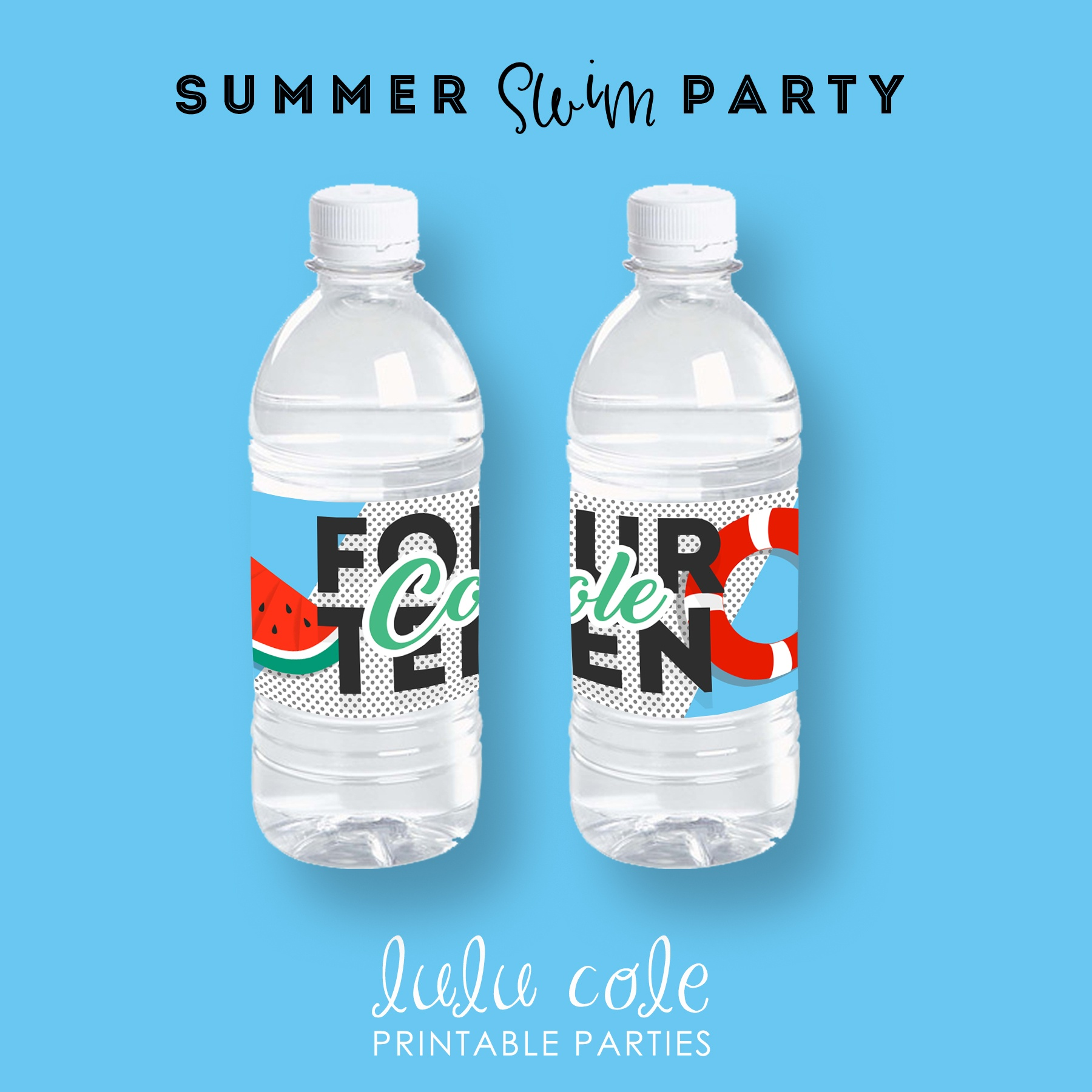 Teen Pool Party Water Labels